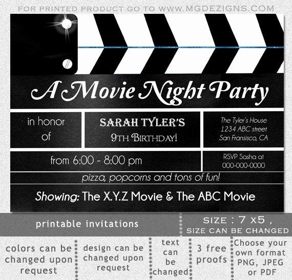 Movie Night Invite Template Luxury Items Similar to Printable Movie Clapboard Movie Night