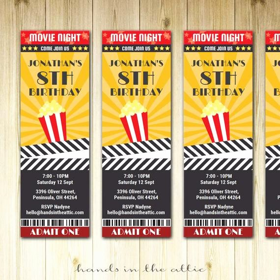 Movie Night Invite Template Luxury Movie Ticket Invite Invitation Ticket Film Night Movie Party