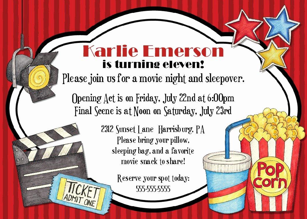 Movie Night Invite Template Unique Bear River Greetings Movie Night Birthday Party