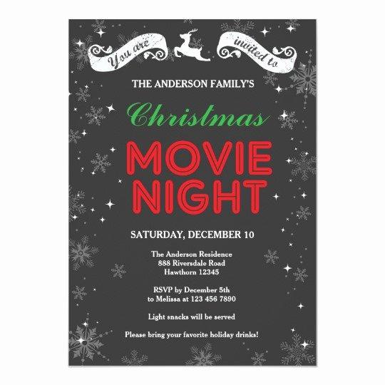 Movie Night Invite Template Unique Christmas Movie Night Invitation Christmas Movie Card