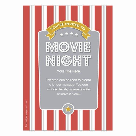 Movie Night Invite Template Unique Popcorn Movie Night Invitations & Cards On Celebrations