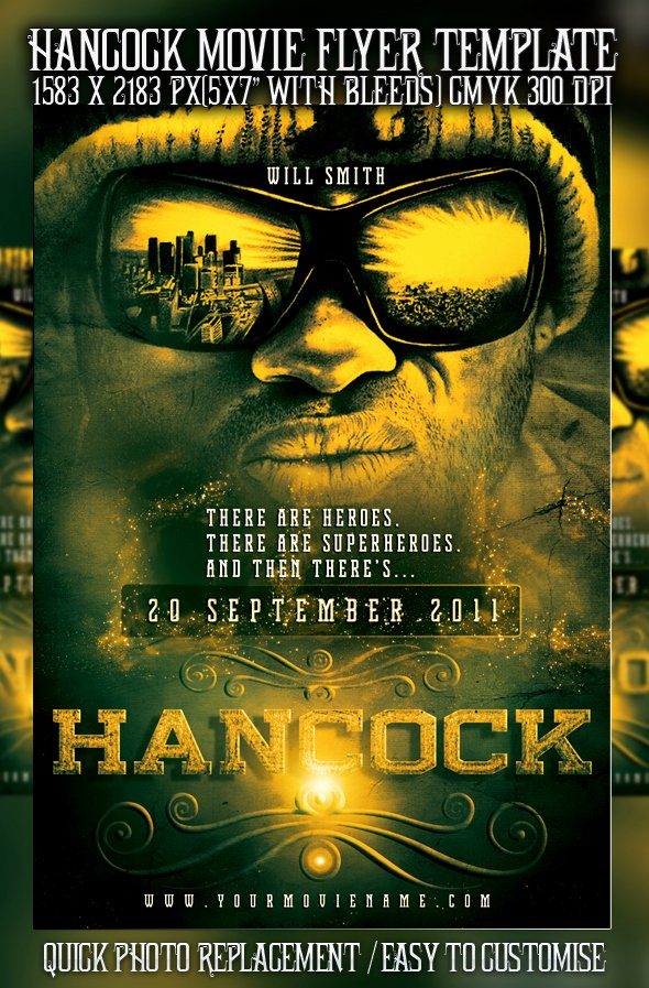 Movie Poster Template Psd Luxury Psd Hancock Movie Poster by Retinathemes On Deviantart