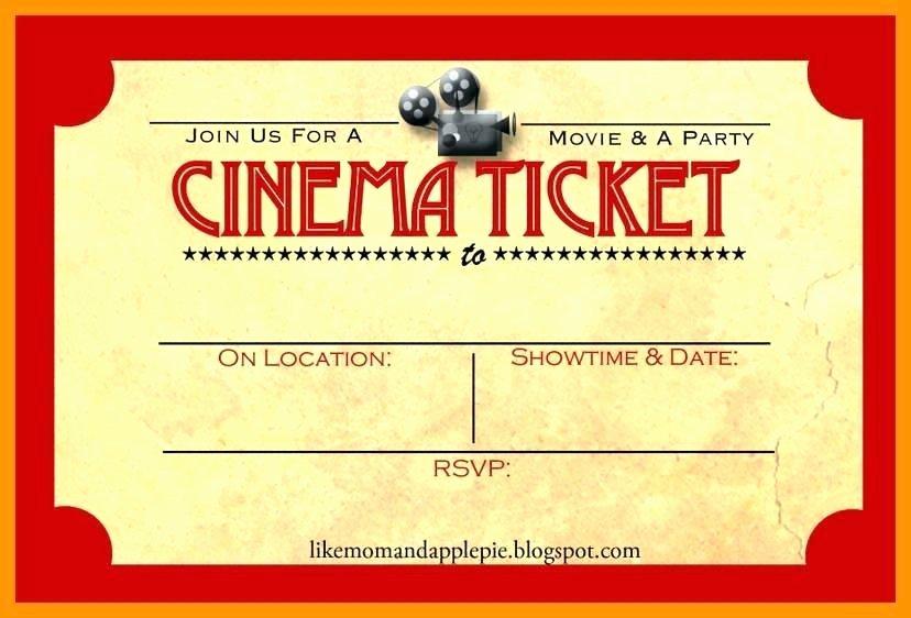 Movie Ticket Invitation Template Awesome Movie Ticket Template Movie Ticket Template Word Free