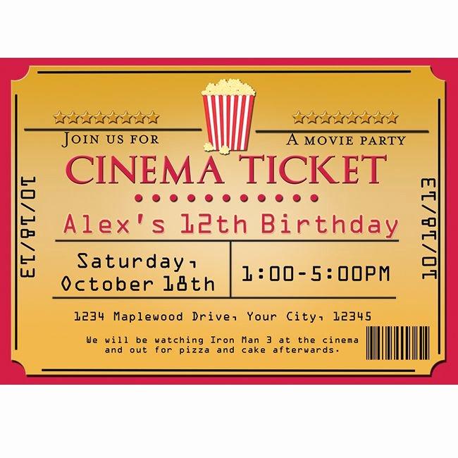 Movie Ticket Invitation Template Beautiful Cinema Movie theater Popcorn Ticket Birthday Party event