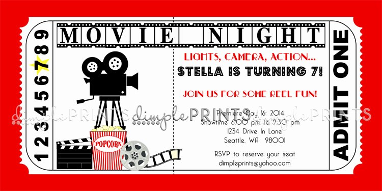 Movie Ticket Invitation Template Best Of Movie Ticket Printable Birthday Invitation Dimple Prints