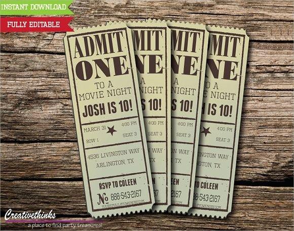 Movie Ticket Invitation Template Best Of Vintage Movie Ticket Invitation Template