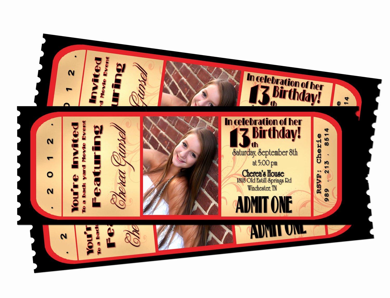 Movie Ticket Invitation Template Elegant Movie Night Ticket Birthday Printable Invitation by Sarahmkey