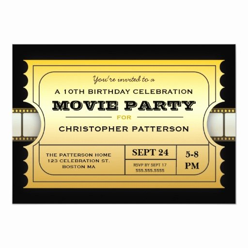 Movie Ticket Invitation Template Elegant Movie Party Birthday Party Admission Gold Ticket