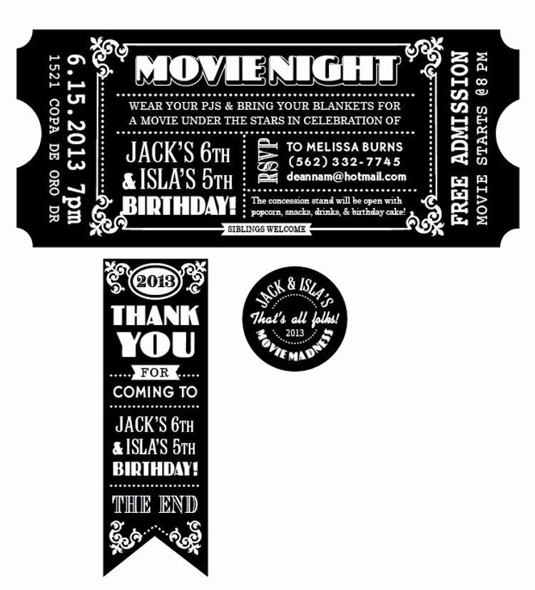 Movie Ticket Invitation Template Fresh Customized Movie Ticket Invitation Printable by