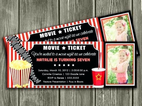Movie Ticket Invitation Template Fresh Movie theater Invitations Ticket Cinema Invitation