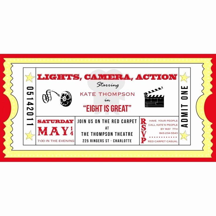 Movie Ticket Invitation Template Fresh Movie Ticket Cinema Drive In Birthday Party Printable