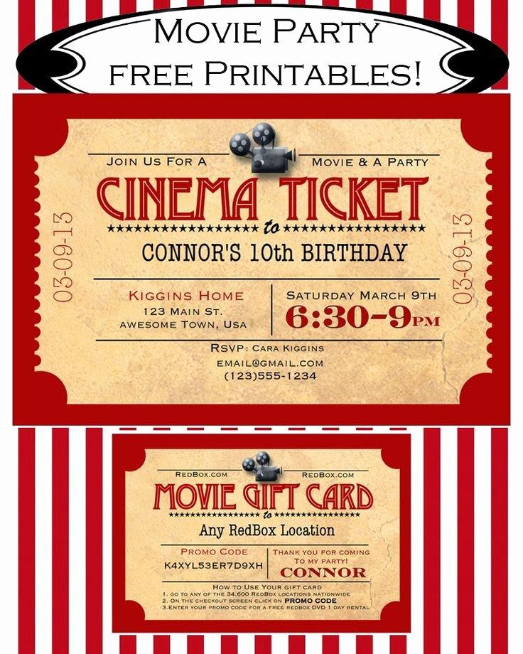 Movie Ticket Invitation Template Inspirational Free Printables Free Movie Party Invitation and Redbox