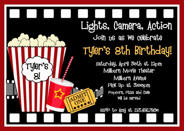 Movie Ticket Invitation Template Lovely Movie Birthday Invitations Movie Night Birthday Party