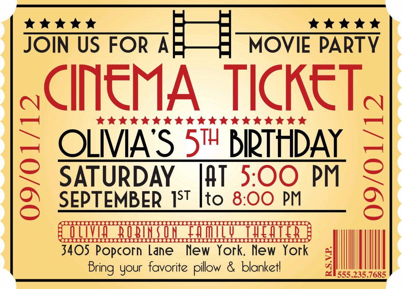 Movie Ticket Invitation Template Luxury Movie Ticket Birthday Invitations Ideas – Bagvania Free