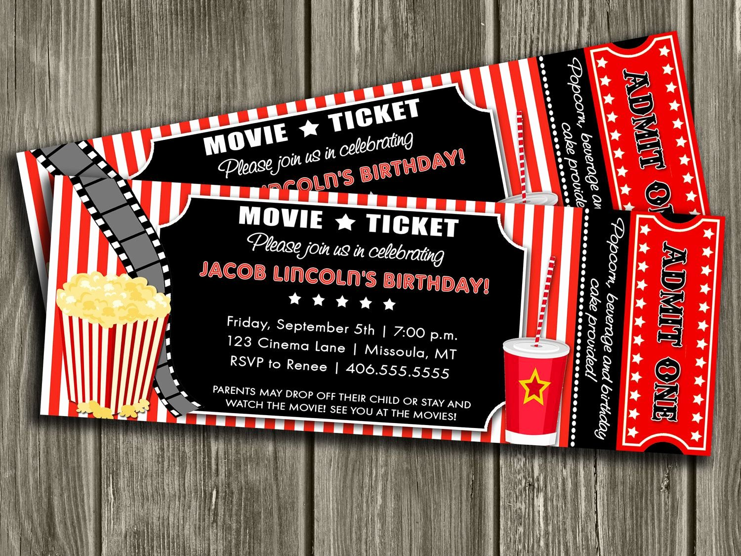 Movie Ticket Invitation Template Luxury Movie Ticket Invitation Free Thank You Card Included