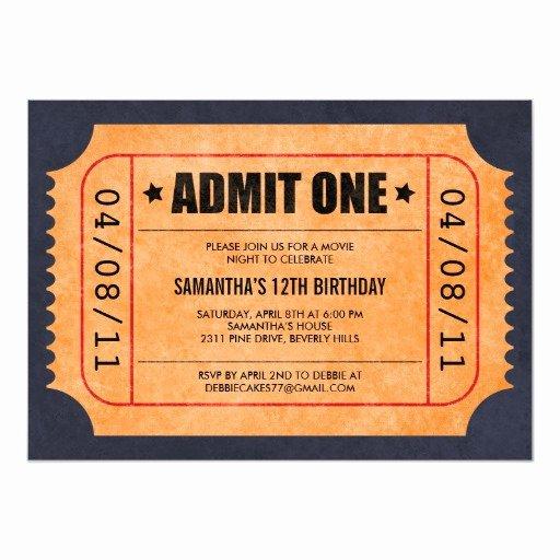 Movie Ticket Invitation Template Luxury Movie Ticket Invitations