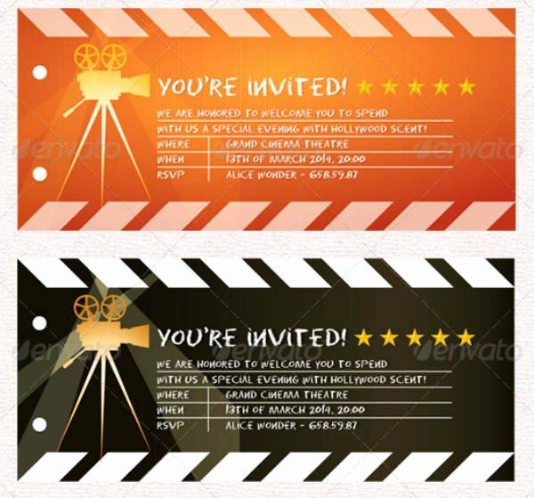 Movie Ticket Invitation Template New 12 Movie Ticket Invitation Designs & Templates Psd Ai