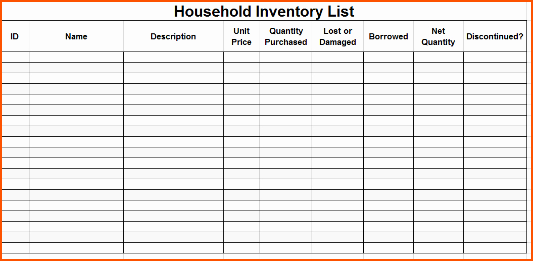 Moving Inventory List Template Beautiful Editable Inventory Checklist Template to Help You Moving