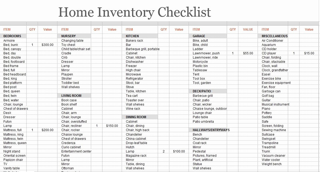 Moving Inventory List Template Fresh 8 Free Sample Moving Inventory List Templates Printable