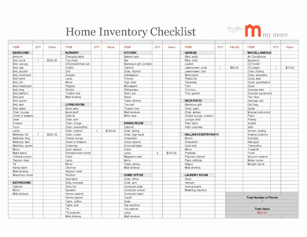 Moving Inventory List Template New Cattle Inventory Spreadsheet