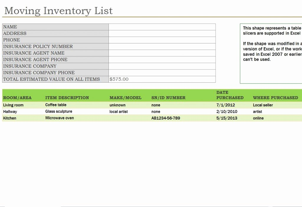 Moving Inventory List Template New Moving Inventory List
