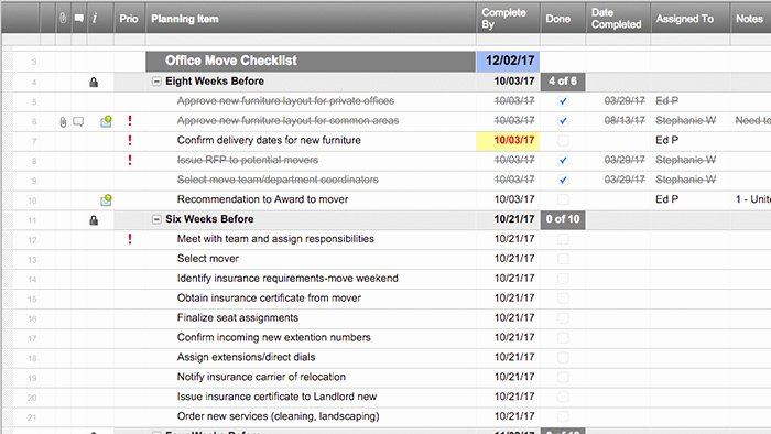 Moving Office Checklist Template New Smartsheet