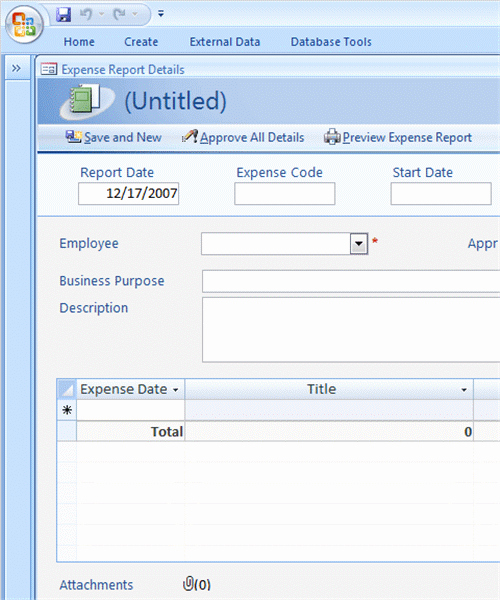 Ms Access 2007 Template Fresh Expense Reports for Access 2007 Newer Business Access