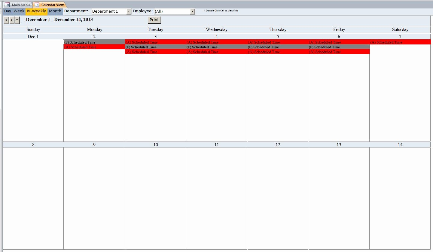 Microsoft Access Employee Scheduling Database