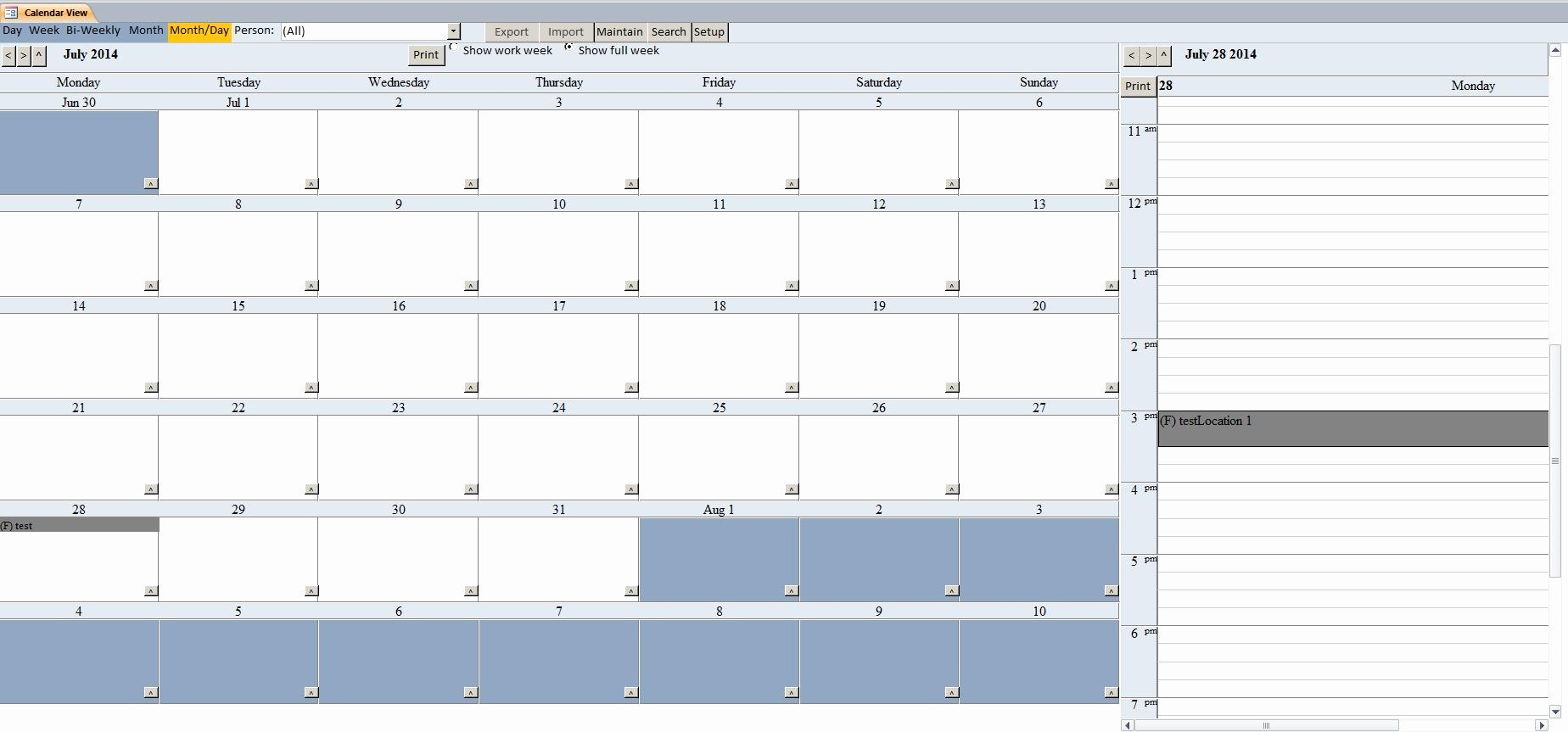 Ms Access Calendar Template Lovely Enhanced Calendar Scheduling Database Template