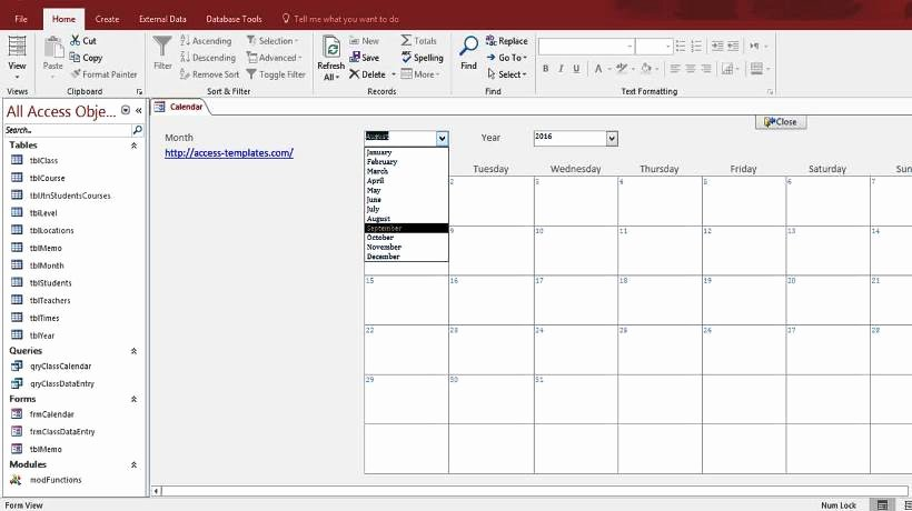 Ms Access Calendar Template Luxury Microsoft Access Calendar form Template for Microsoft