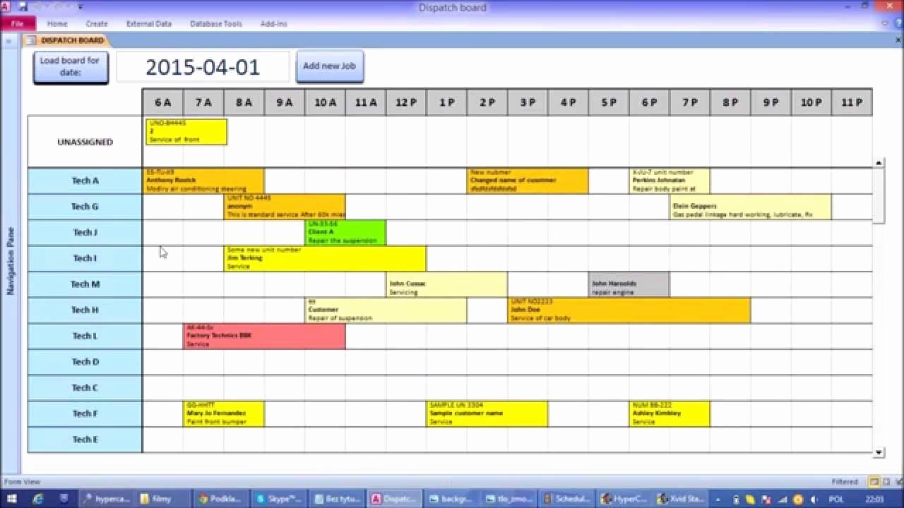 Ms Access Calendar Template Unique Microsoft Access Interactive Work Load and Capacity