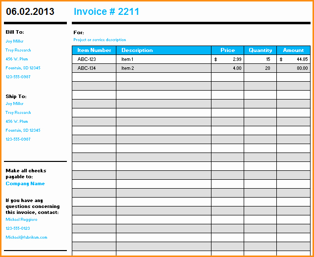 Ms Access Invoice Template Luxury 9 Microsoft Excel Invoice Template