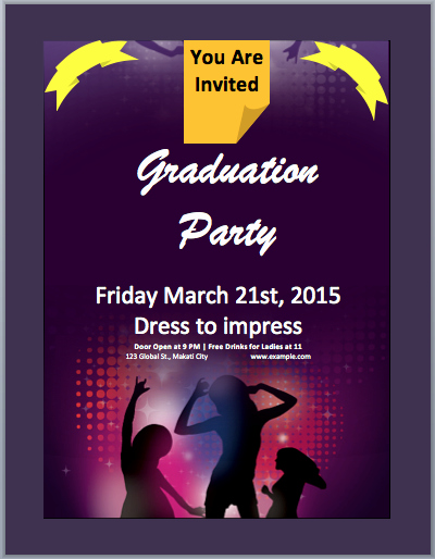 Ms Office Invitation Template Elegant Graduation Party Invitation Flyer Template – Microsoft