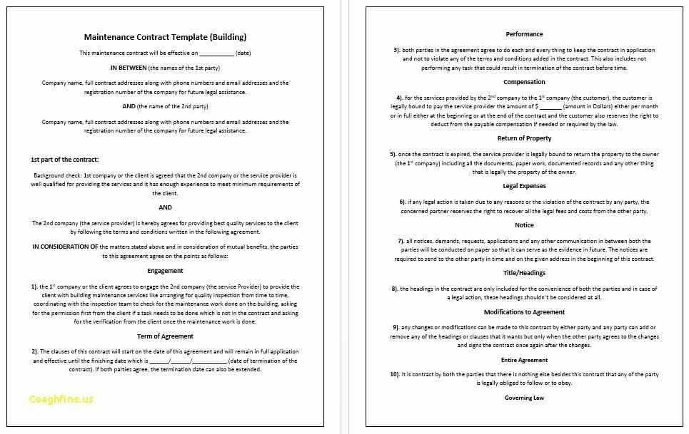 Ms Word Contract Template Elegant Employee Housing Agreement Template Templates Data