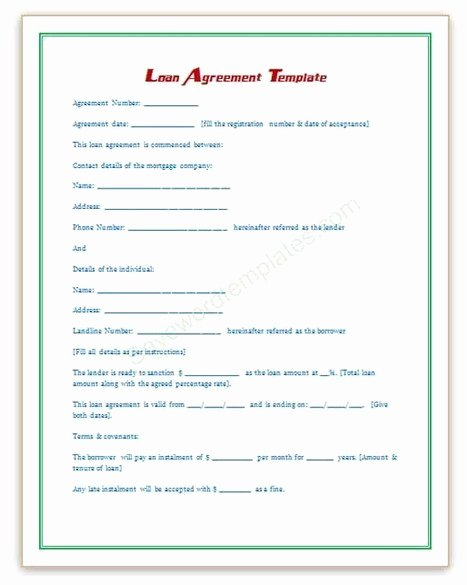 Ms Word Contract Template Elegant Loan Agreement Template
