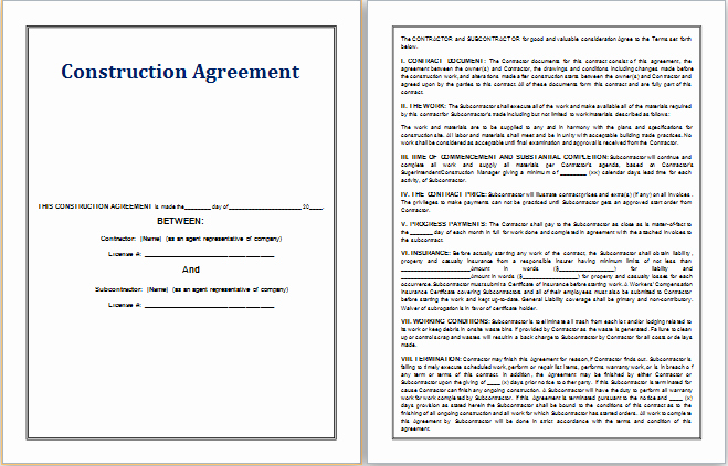 Ms Word Contract Template Elegant Ms Word Construction Agreement Template