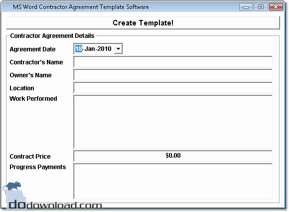 Ms Word Contract Template Fresh Ms Word Contractor Agreement Template software Image
