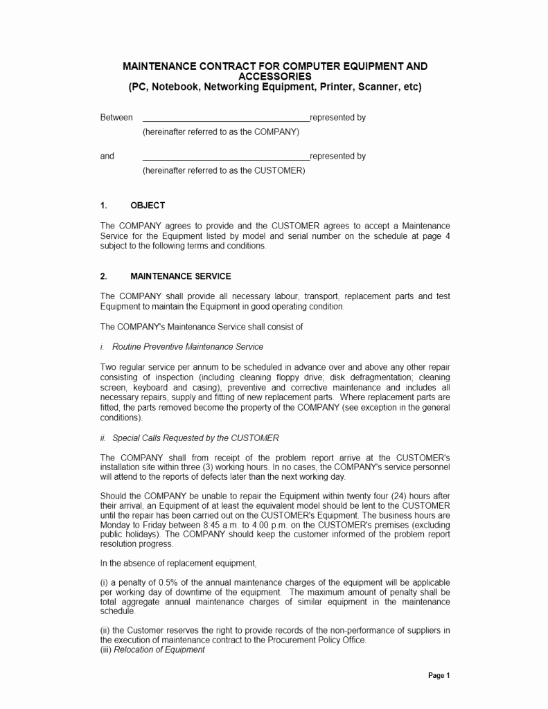 Ms Word Contract Template Inspirational Maintenance Contract Template