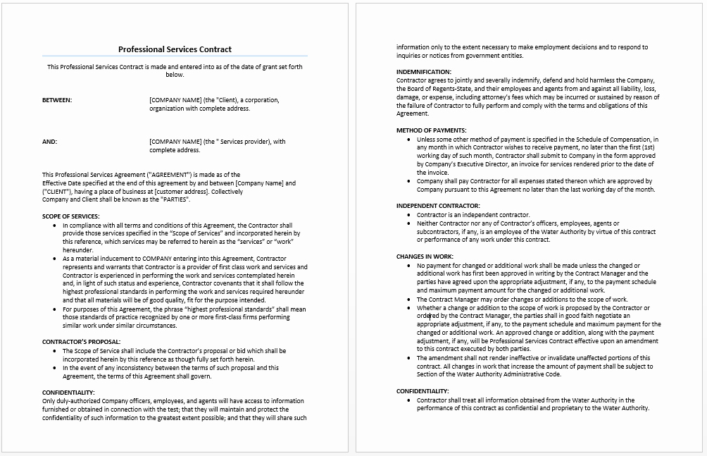 Ms Word Contract Template Inspirational Professional Services Agreement Template Microsoft Word