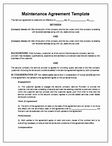 Ms Word Contract Template Lovely Maintenance Agreement Template