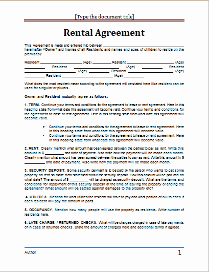 Ms Word Contract Template Luxury 20 Rental Agreement Templates Word Excel Pdf formats