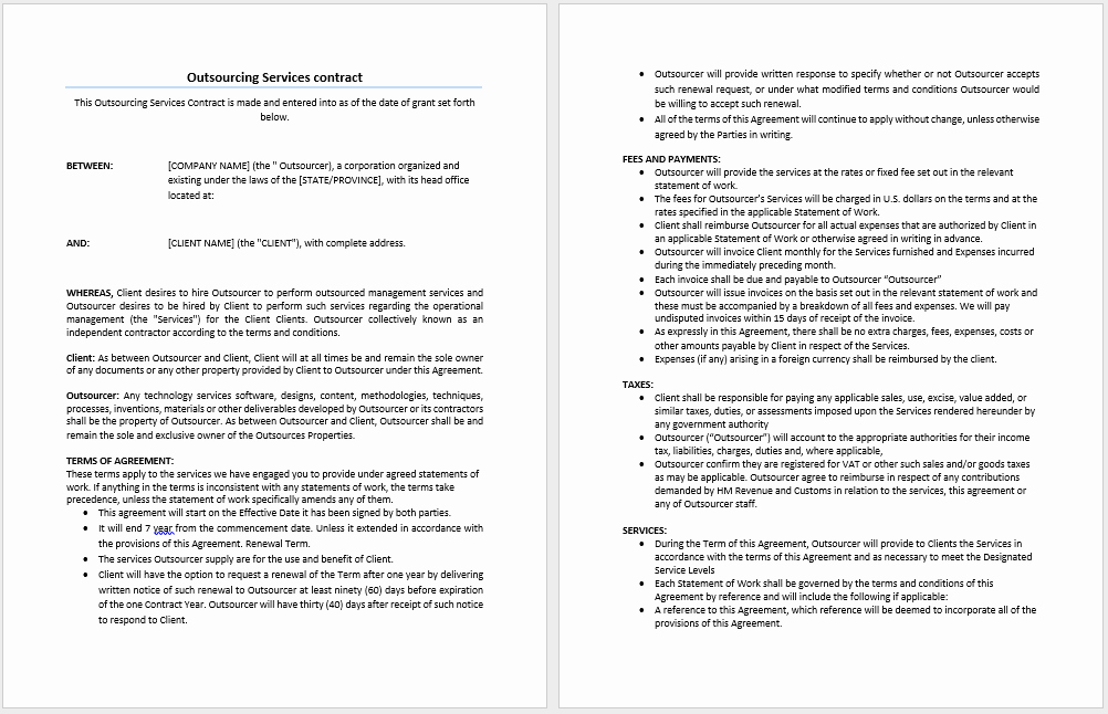 Ms Word Contract Template Luxury Outsourcing Services Contract Template Microsoft Word