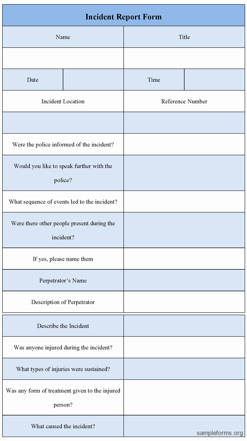 Ms Word form Template Awesome Incident Report Template