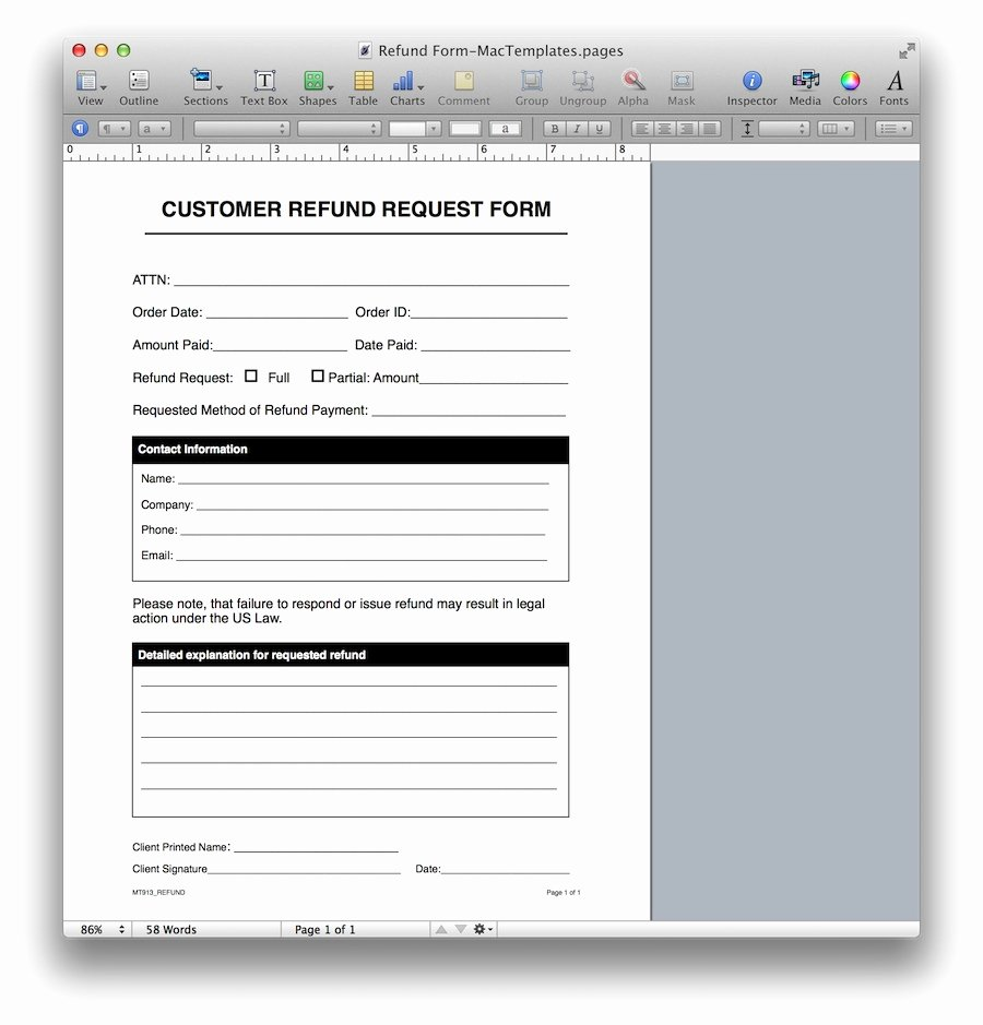 Ms Word form Template Fresh Refund Request form Template for Apple Pages & Pdf