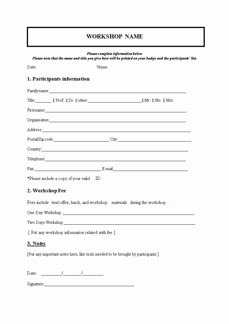 Ms Word form Template Inspirational Free Workshop Registration form