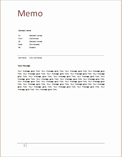 Ms Word form Template Unique 9 Memo Templates Word Excel Pdf formats