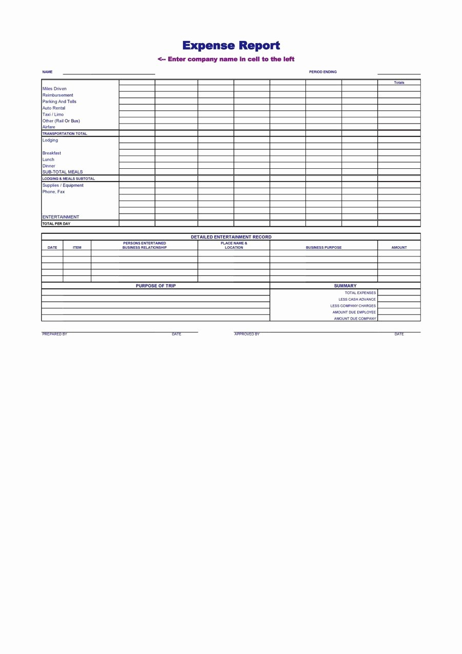 Ms Word form Template Unique Blank Expense Report Mughals