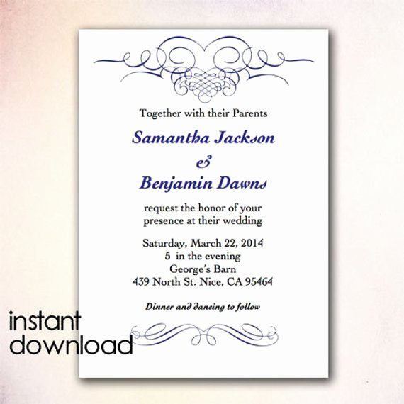 Ms Word Invitation Template Best Of Diy Wedding Invitation Template Instant Download by