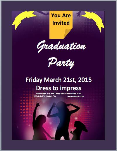 Ms Word Invitation Template Elegant Graduation Party Invitation Flyer Template – Microsoft