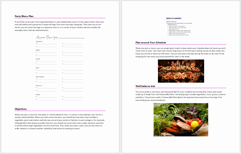 Ms Word Menu Template Awesome Party Menu Plan Template – Microsoft Word Templates